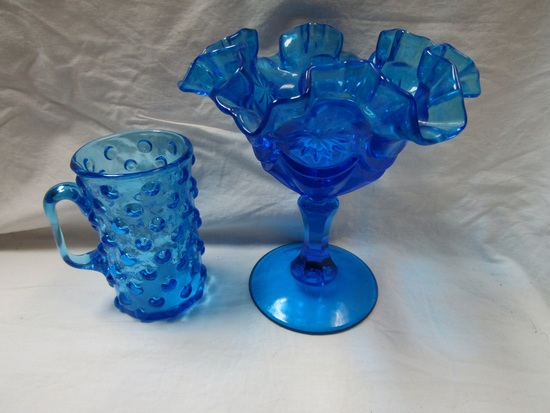 Lot of 2 Blue Glass