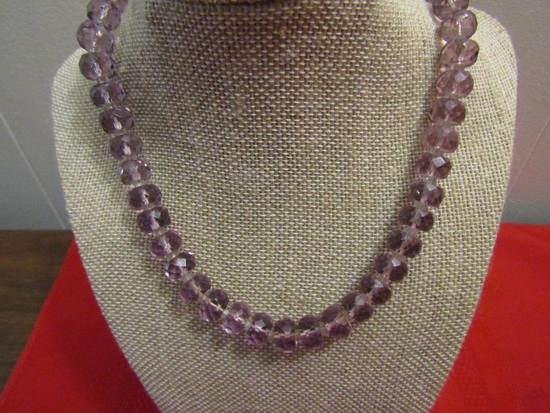 Vintage Amethyst Crystal Glass Necklace