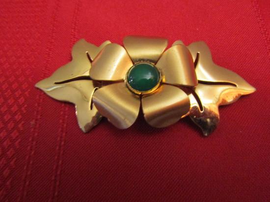 "Vintage Art Deco Gold Tone 3"" Brooch"
