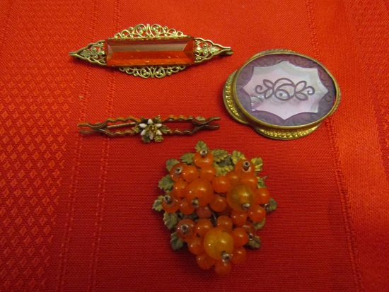 Vintage/Antique Lot of 4 Victorian Brooches