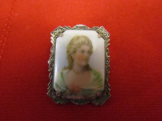 Antique/Vintage Silver Tone Handpaiinted Portrait Brooch