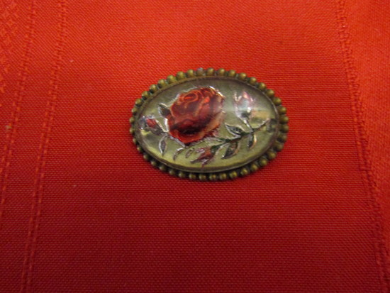 Antique Glass Dome Rose Brooch
