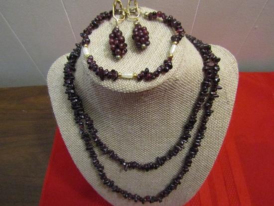 Vintage Set Pomegranate Natural Garnet Seed Necklace, Bracelet and Earrings