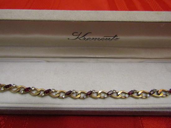 Vintage Signed Krementz Classic Ruby Colored gold Tone Bracelet, Original Box