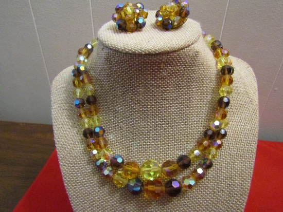 Vintage Set Double A & B Crystal Topaz/Amber Necklace and Earrings