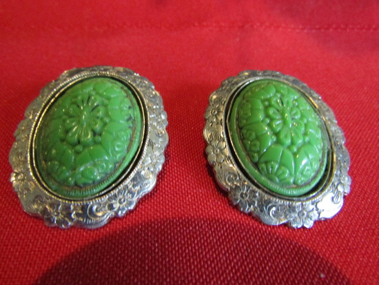 Vintage Pair of Carvced Earrings