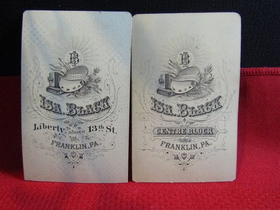 Vintage Lot of 2 Advertising Cards, Isa Black