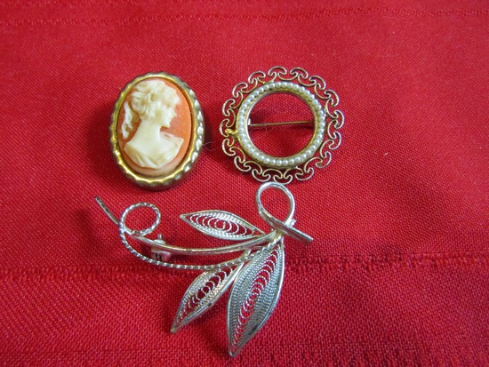 Vintage Lot of 3 Brooches