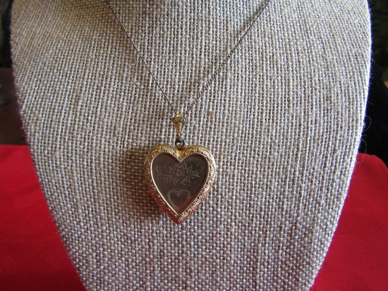Vintage Locket Necklace, Heart Shaped