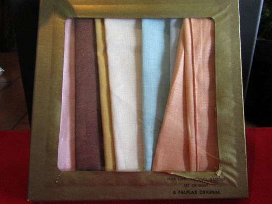 Vintage 8 Pure Linen Cocktail Napkins, Falfax