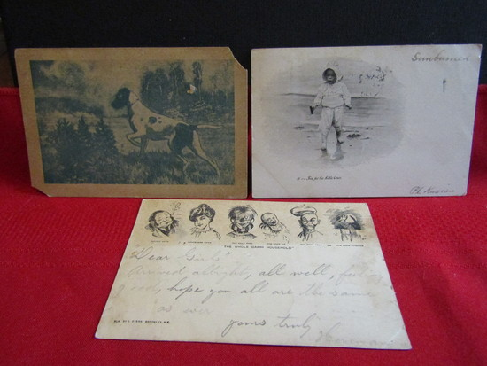 Antique Lot of 3 Postcards, Signed