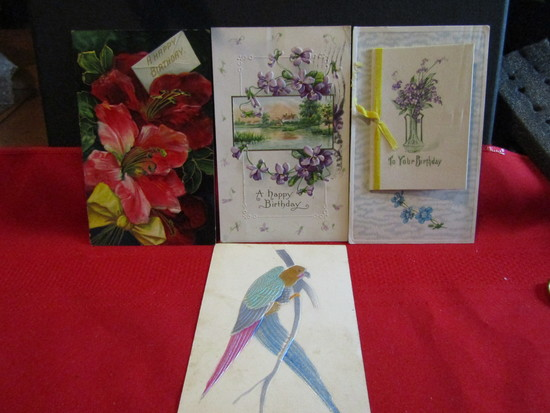 Vintage Lot of 4 Postcards Raised Fronts