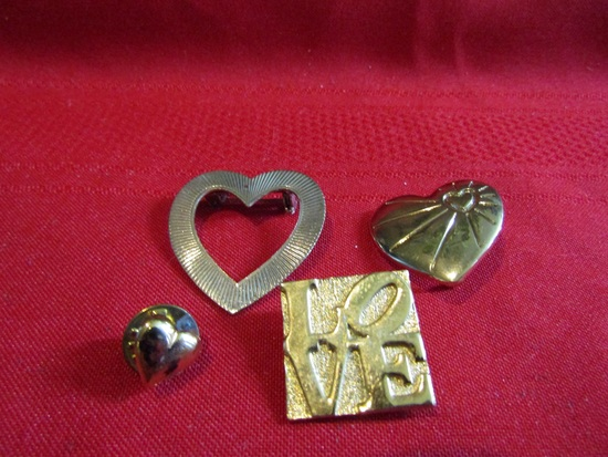 Lot of 4 Vintage Pins, gold Tone, Lisner