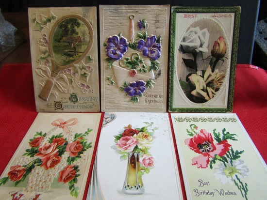 Lot of 6 Vintage/Antique Postcards, Raised Fronts