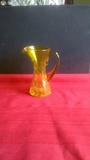 Vintage Amber Crackle Glass Pitcher