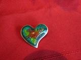 Vintage Brooch Heart with Flower, Alpaca