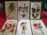 Lot of 6 Vintage/Antique Postcards, Raised Fronts