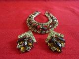 Vintage Rhinestone Bracelet and Matching Earrings