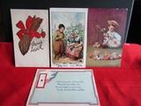 Vintage/Antiques Lot of 4 Postcards, Signed