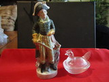 Vintage Lot of 2, Glass Hen and Victorian/Colonial Figurine