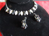 Vintage Rhinestone Navette Necklace and Earrings