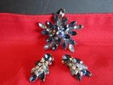Vintage Blue Aura Brooch and Earring Set