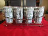 Vintage Hazel Atlas Glass Set with Carrier