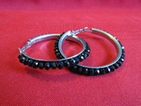 Vintage silver Tone and Black Earrings