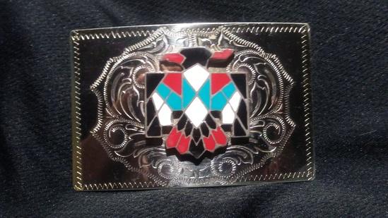 "Native American ""Navajo"" Belt Buckle 4"" x 2 3/4"""