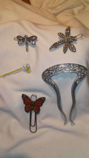 Lot of 5 Art Deco Hair Clips and Americana Clips