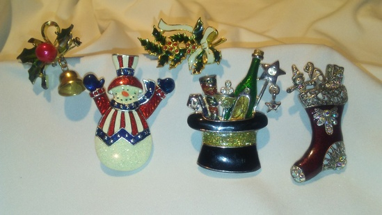 Lot of 5 Holiday Cheer Enameled Brooch Lot of 5