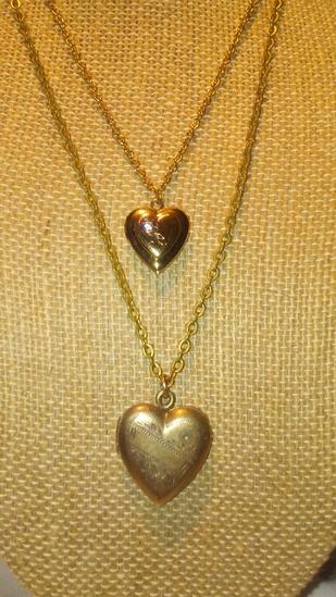 2 Heart Locket Necklaces