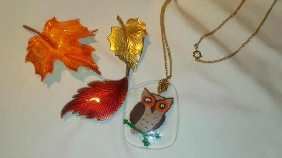 Autumn/Fall Vintage Leaf Brooches and Americana Owl Necklace
