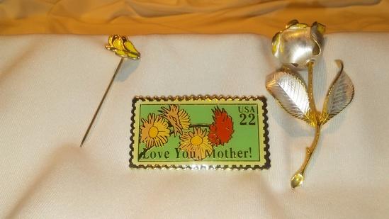 Lot of 3 Retro Stamp Style Pin, Metal Rose Brooch, Lovebird Stick Pin