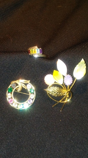 3 pc. Multi-colored Ring and Brooches