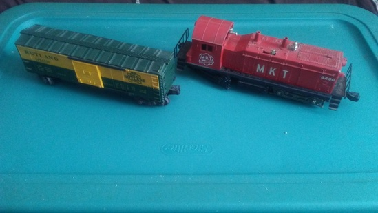 Lionel MKT Red Engine 8010-11 and Lionel Rutland Boxcar