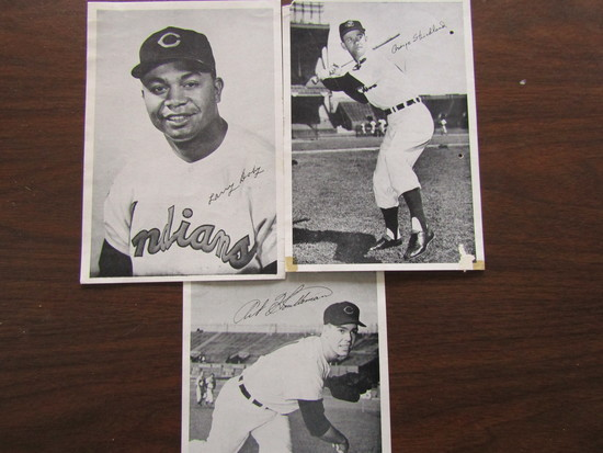 Lot of 3, Player Signed Photograghs, Larry Doby, George Strickland, Art Houtteman