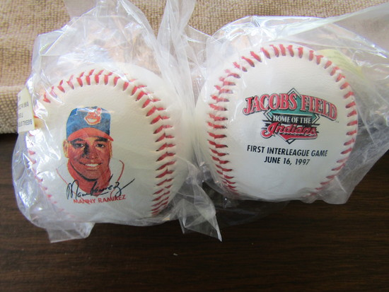 Lot of 2,Baseballs, Manny Ramirez, Jacobs Field 1997 First Interleague Game at Jacobs Field