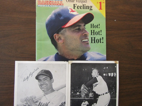 Lot of 3, 1999 Cleveland Program, Scorecard and 2 Photos, Rudy Regalado, Bob Lemon