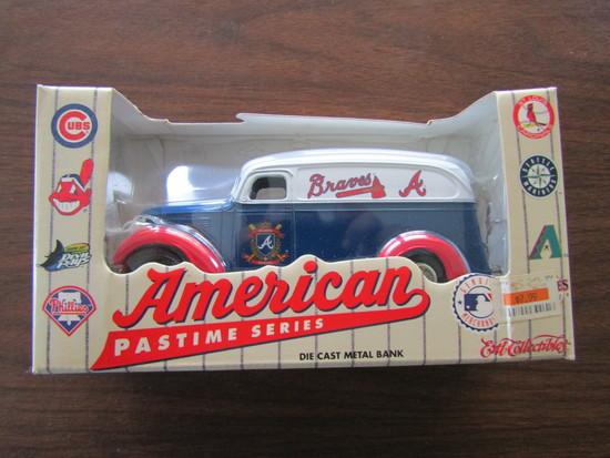 American Pastime Series Atlanta Braves Die Cast Bank, in Original Box