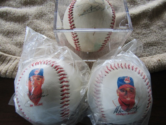 Lot of 3, Baseball Display Cube with Ball, Jim Thome, Manny Ramirez