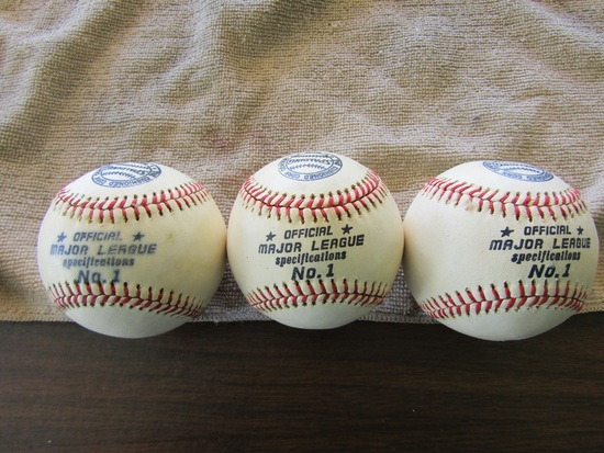 Lot of 3 Spalding Major League No. 1 Baseballs