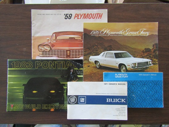 Lot of 5 Car Publications, 58 Plymouth, 76 Grand Fury, 83 Pontiac, 71 Buick, 75 Grand Fury