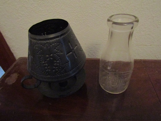 Vintage Metal Candle Holder and Belmont Dairy Bottle