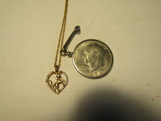Lot of 2, 1-Unicorn Necklace, 1-1974 One Dollar Coin Watch Fobb