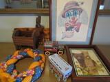 Décor, Signed Tom Wood Clown Print, Hershey Trucks