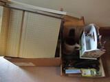 Lot of Office Equipment, Standing File Holders, Paper Cutter, Stapler