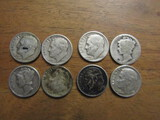 Lot of 8 Silver Dimes, 1920, 39, 48, 49, 50, 51, 55