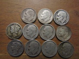 Lot of 11 Silver Dimes, 1945 and 1946
