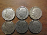 Lot of 6 Silver Dimes, 1948 and 1949